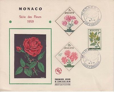 Monaco 1959 Flowers set to 15f green. First Day Cover.