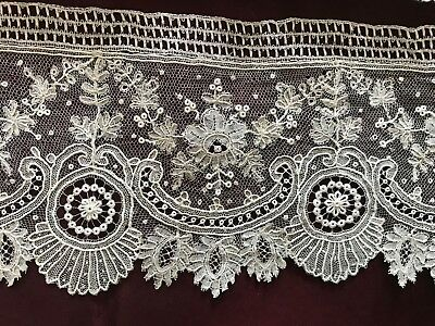 PERFECT ANTIQUE 1860's  BRUSSELS LACE EDGING -  SOLD PER YARD