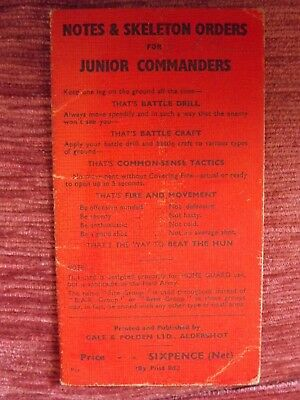 Wwii Fold Out Aide Memoire Home Guard Use Field Army C1941 130
