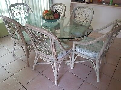 Kitchen Dining Setting - Glass table and six cane and chairs - perfect condition