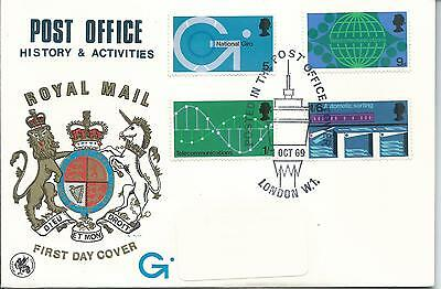 1969 FDC Post Office set 4 FDI Post Office Tower London Special Postmark 1 Oct