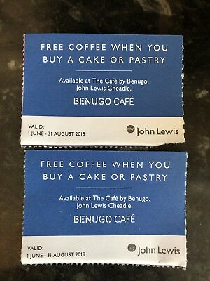 2 X VOUCHERS John Lewis Cafe - Hot Drink With Purchase Cake Coupons ...