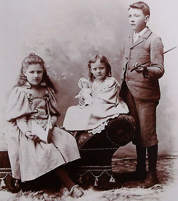 CABINET PHOTO BEAUTIFUL CHILDREN SIBLINGS ONE w/ DOLL COLLINGWOOD ONTARIO CANADA
