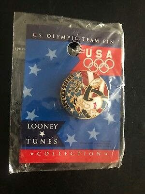 1993 Looney Tunes Sylvester the Cat Track & Field U.S. Olympic Team Enamel Pin
