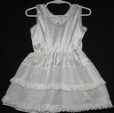 Toddler girl's white nylon petticoat with lace trim size 3T