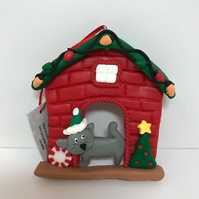 Cat Christmas Ornament Gray Kitty in Red Brick Holiday Decorated House Plastic