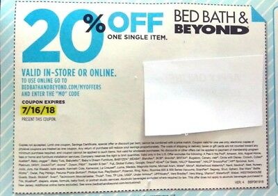 20 Bed Bath and Beyond 20% Off Coupon Single Item