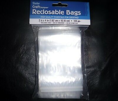 """Darice 100 Clear Plastic Reclosable Resealable Bags 3""""x4"""" Jewelry"""