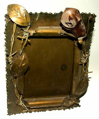 BARBED WIRE AND ROSE picture frame - metal - WW1 WW2 ?  unusual item