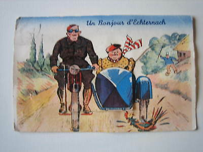 CP carte postale humour Moto Side Car Echternach Grand duché 1948 panorama