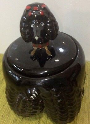 RARE 1960'S VTG Paul's of JAPAN BLACK POODLE Ceramic Canister coffee tea
