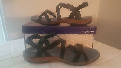 New Easy Spirit Explore24 Black Sandals Size 8 1/2 Ww -Nib