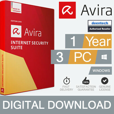 Avira Internet Security Suite 2019 (3PCs) Antivirus 1Yr Genuine License Windows