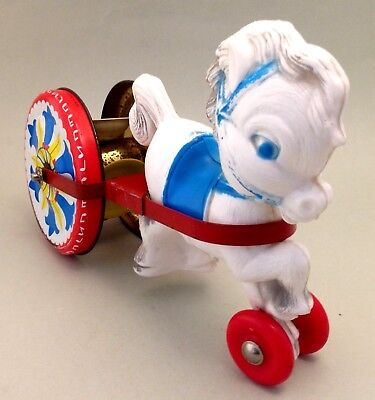 Vintage tin litho and plastic toy push pull horse & cart made in England