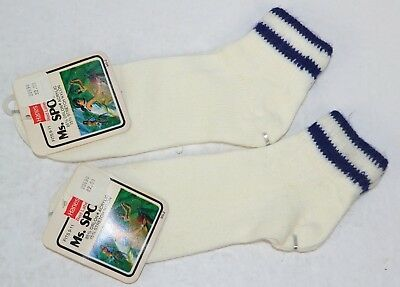 Vtg Hanes Lot of 2prs Ms. Sports Soft Striped Ankle Athletic Socks 85% Orlon
