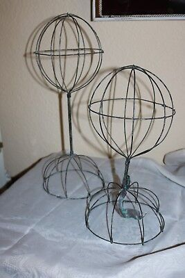 2 New Vintage Look Wire Metal French Style Hat or Wig Stands