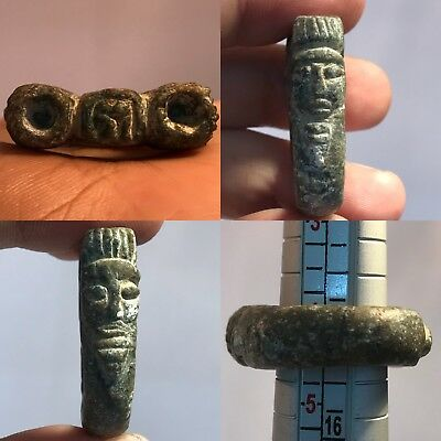 Indus Valley Ancient Rare Unique Stone Ring With Greek Head