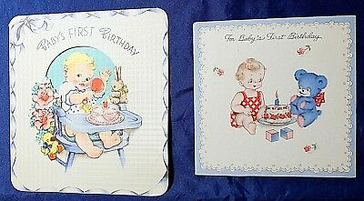 """Vintage Greeting Cards, """"BABY'S FIRST BIRTHDAY"""", """"BABY'S FIRST BIRTHDAY"""" 2 Used"""