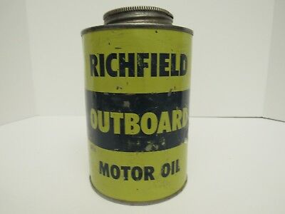 """Vintage Richfield Outboard Motor Oil Quart Can  """"Empty"""""""