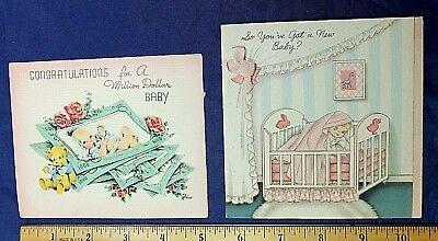 Vintage Greeting Cards, 2 Used 1940s/1950s CONGRATULATIONS ON NEW BABY
