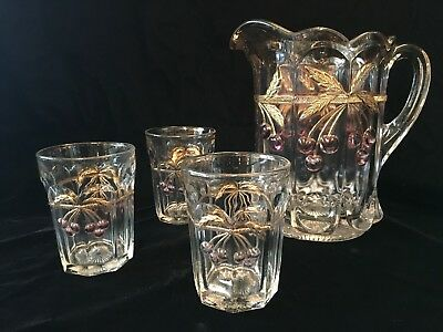 Antique Northwood Pitcher & 3 tumblers ~ Rare Clear Glass with Cherries ~