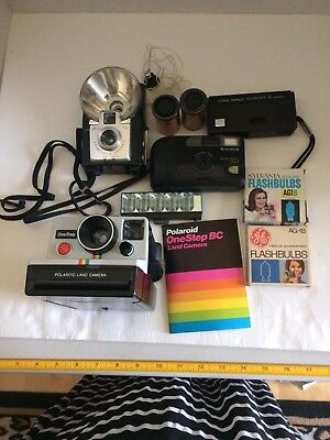 Four Vintage Cameras, Film, Bulbs