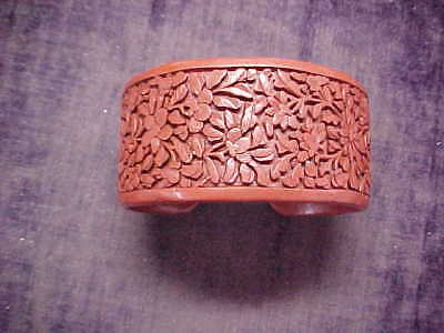 Wide Beautiful Chinese Export Cinnabar Cuff Bracelet