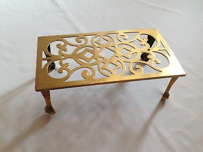"Antique Heavy Solid Brass Trivet / Plant Stand 10"" X 5.5"" Rectangle Claw Foot"