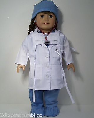 """7pc Doctor Dr Nurse Scrub Stethoscope Clothes For 18"""" American Girl Doll (Debs)"""