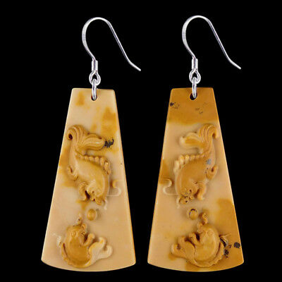 Carved Fish Silver Earring EF900168