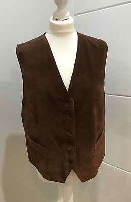 Tan Real Suede Vintage Waistcoat Size L Large 14 16