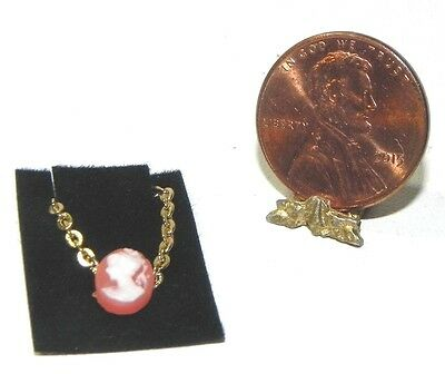Dollhouse Miniature Cameo Necklace Jewelry Pink Multi Minis 1:12 Scale