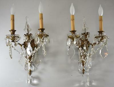 Pair French Style Brass And Cut Glass Crystal Two Socket Wall Sconces Circa 1910