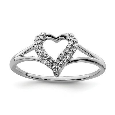 Sterling Silver Diamond Heart Ring. Carat Wt- 0.1ct. Metal Wt- 1.52g
