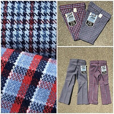 2 PR Vtg 70s Sears ROUGH HOUSERS Plaid Bell Jeans Pants 8 NOS lot Talon 42