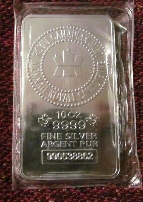 .9999 Royal Canadian Mint (RCM) 10oz Silver Bar Fine Silver Bullion