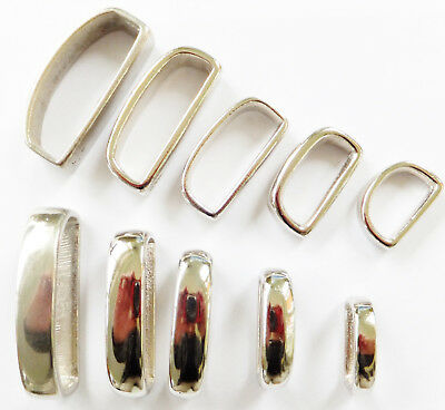 "Nickel Plated On Solid Cast Brass -  D Shape  - Belt Loops 3/4"" To 1-3/4"""