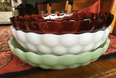 Vintage ANCHOR HOCKING Serving Bowl Milk Glass Bubble