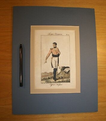 Vintage Hand Tinted Mounted French Bookplate. English Army Officer