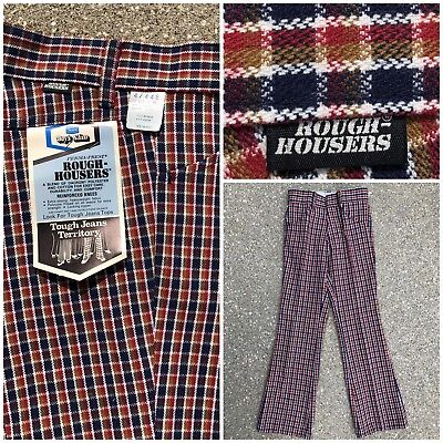 Vtg 70s Jeans Sears Original ROUGH HOUSERS Plaid Bell Pants12 slim NOS Talon 42