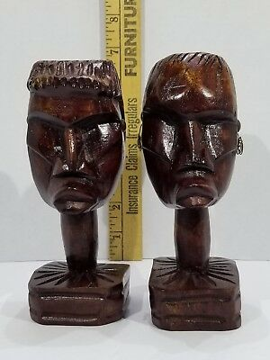 Vintage Primitive Carved Woman And Man Busts Statue Tribal Art