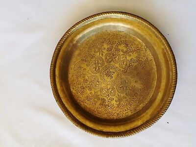 Antique Chinese  Pure Brass Hand Carved Plate