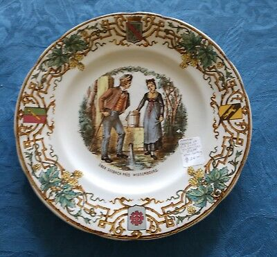 19th c Ober Seebach Pres Wissembourg Sarreguemines Alsace French Couple Plate