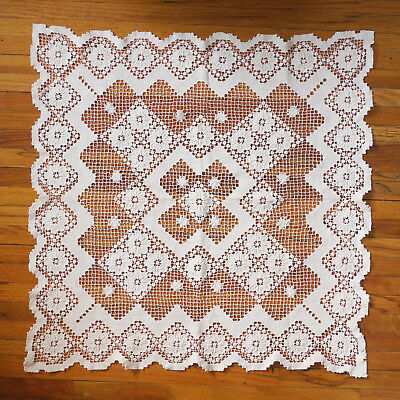 """Large vintage filet lace (over netting) doily, good condition. 28"""" square"""