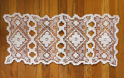 """Four panel vintage filet lace (over netting), great condition. 21"""" x 9 1/4"""""""