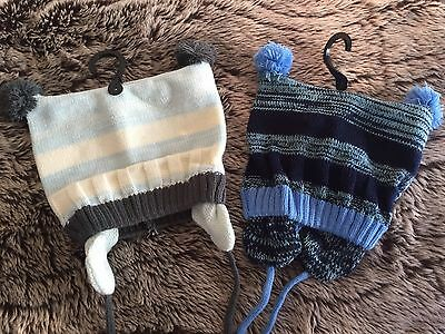 Baby Boys New Beanie With Built In Ear Muffs Size 50 Cm x 2 Free Post