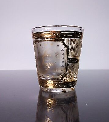 Vintage Las Vegas Show Girl 22K Gold Accent Casino Shot Glass By Culver