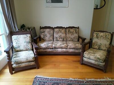 Jacobean Style Cane/Coach Wood 3 Piece Lounge Suite in excellent condition.