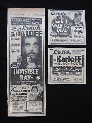 BORIS KARLOFF 1936 Orig movie advertising Invisible Ray Walking Dead Black Room