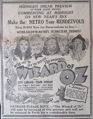 THE WIZARD OF OZ 1939 Original movie advertising Judy Garland MGM masterpiece